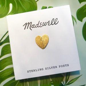 Madewell Heart Breaker Brass Stud Earrings